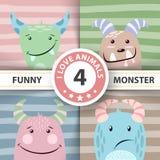 Set cute monster. Four items. stock illustration