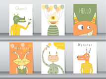 Set of cute monster poster,template,cards,party,Vector illustrations. Set of cute monster poster,template,cards,party Stock Photo