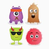 Cute monster. A set of cute monster template  design stock illustration