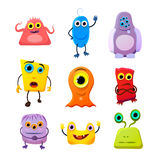 Set of cute monsters, cartoon characters on white Stock Photo