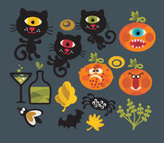 Set of cute monsters for Halloween. Royalty Free Stock Photos