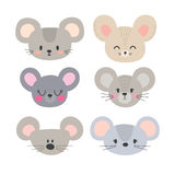Set of cute mouses. Funny doodle animals. Little mouse in cartoon style. Vector illustration Stock Images