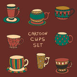 Set of cute mug in doodle style. tea or coffee cups Stock Photography