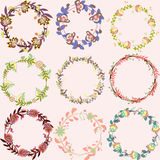 Set of cute multicolored floral wreaths vector frames with flowers Stock Photos