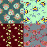 Set of cute multicolored seamless patterns with flowers Stock Image