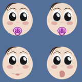 Set of cute newborn baby emoticons. Very simple but expressive cartoon baby faces. Various baby expressions and emotions Stock Photos