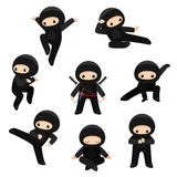 Set of cute ninjas in various poses isolated on white background royalty free illustration