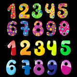 Set of cute numbers. Set of cute  bright numbers Stock Photo
