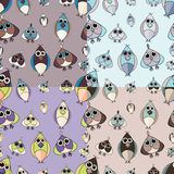 Set of cute owl seamless patterns. Simple and nice illustration Stock Images