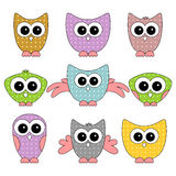 A set of cute owls Royalty Free Stock Image
