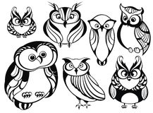 Set of cute owls. Set of cute black and white owls Royalty Free Stock Photography