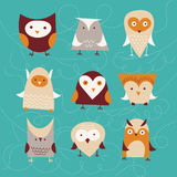 Set of cute owls Stock Images