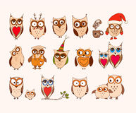 Set of cute owls. Vector cartoon owls and owlets birds isolated on white background. Royalty Free Stock Photography