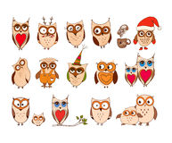 Set of cute owls. Vector cartoon owls and owlets birds isolated on white background. Royalty Free Stock Photos