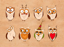 Set of cute owls. Vector cartoon owls and owlets birds  on white background. Stock Photos