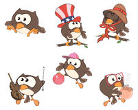 Set of cute owls for you design.  Cartoon Stock Images