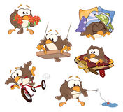 Set of cute owls for you design. Cartoon Stock Photography