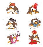 Set of cute owls for you design. Cartoon Royalty Free Stock Photo