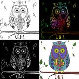 Set of cute owls. Zen art. Design Zentangle. Detailed hand drawn owl with abstract patterns on isolation background. Design for spiritual relaxation for adults royalty free illustration