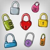 Set of cute padlocks. Set of cute cartoon hand drawn colorful padlocks Stock Photo