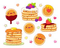 Set of cute pancake icons in kawaii style royalty free stock photography