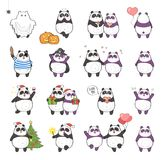 Panda Holiday. Set of cute panda character with different emotions, isolated on white background. Holidays set: Christmas, Halloween, Saint Valentine`s Day Royalty Free Stock Photography