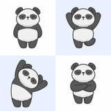 Vector set of cute panda characters royalty free illustration