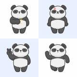 Vector set of cute panda characters stock illustration