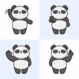 Vector set of cute panda characters vector illustration