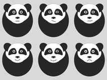 Set of cute pandas. Emotions. Vector Stock Images