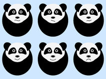 Set of cute pandas. Emotions. Vector Stock Image