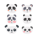 Set of cute pandas. Funny doodle animals. Little panda in cartoon style Royalty Free Stock Photography
