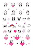 Set of cute pandas with hearts. Elements for Valentine`s Day, birthday, Mother`s Day, wedding. Hand drawn illustration for your design. Doodles, sketch. Vector Royalty Free Stock Photos