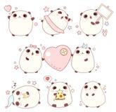Set of cute pandas in kawaii style Stock Image
