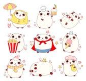 Set of cute pandas in kawaii style Royalty Free Stock Image