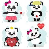 A set of cute pandas on Valentine`s Day in the style of a cartoon. Stock Image