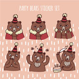 Set of cute party bears stickers stock illustration