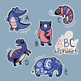 Set of cute patch badges with animals alphabet A - E. Zoo alphabet stickers, badges, icons, patches and design elements.. English ABC cartoon animals vector vector illustration