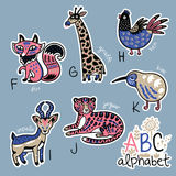 Set of cute patch badges with animals alphabet F - K. Zoo alphabet stickers, badges, icons, patches and design elements.. English ABC cartoon animals vector Vector Illustration