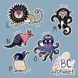 Set of cute patch badges with animals alphabet L - P. Zoo alphabet stickers, badges, icons, patches and design elements.. English ABC cartoon animals vector stock illustration