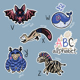 Set of cute patch badges with animals alphabet V - Z. Zoo alphabet stickers, badges, icons, patches and design elements.. English ABC cartoon animals vector stock illustration