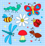 Set of cute patchwork insects for children Royalty Free Stock Photos