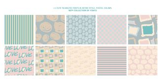 Set of 10 cute patterns. Collection of seamless backgrounds in delicate colors. Vector illustration royalty free illustration