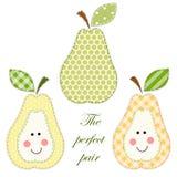 Set of cute pears as retro fabric applique stock illustration