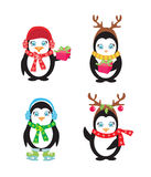 Set of cute penguins Royalty Free Stock Photo
