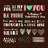 Set of cute phrases for Valentine`s day. Vector illustration Stock Photography
