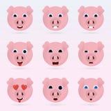 Set of cute pig emoticons. Stock Photos