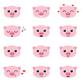 Set of cute piglet emoticons. Set of cute cartoon piglet emoticons Royalty Free Stock Photo