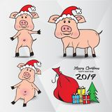 Set of Cute pigs in the hat of Santa Claus, gift boxes with Christmas tree, Vector image. Animal cartoon, Merry Christmas and happy new year 2019 stock illustration