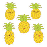Set of cute pineapples with different emotions for stickers, web, print, decoration,  illustration Royalty Free Stock Photos